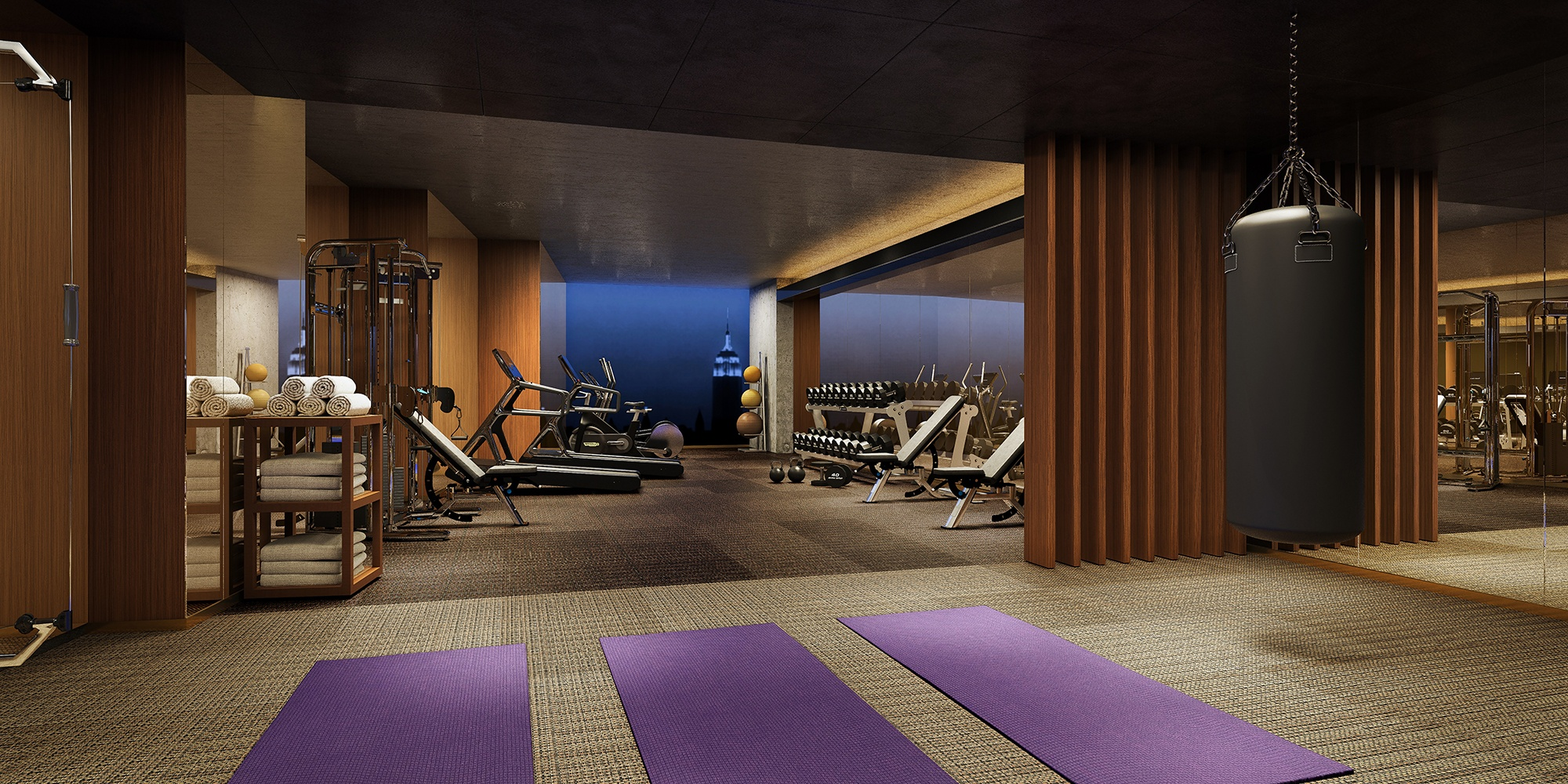 A fully-equipped gym is available to all residents.