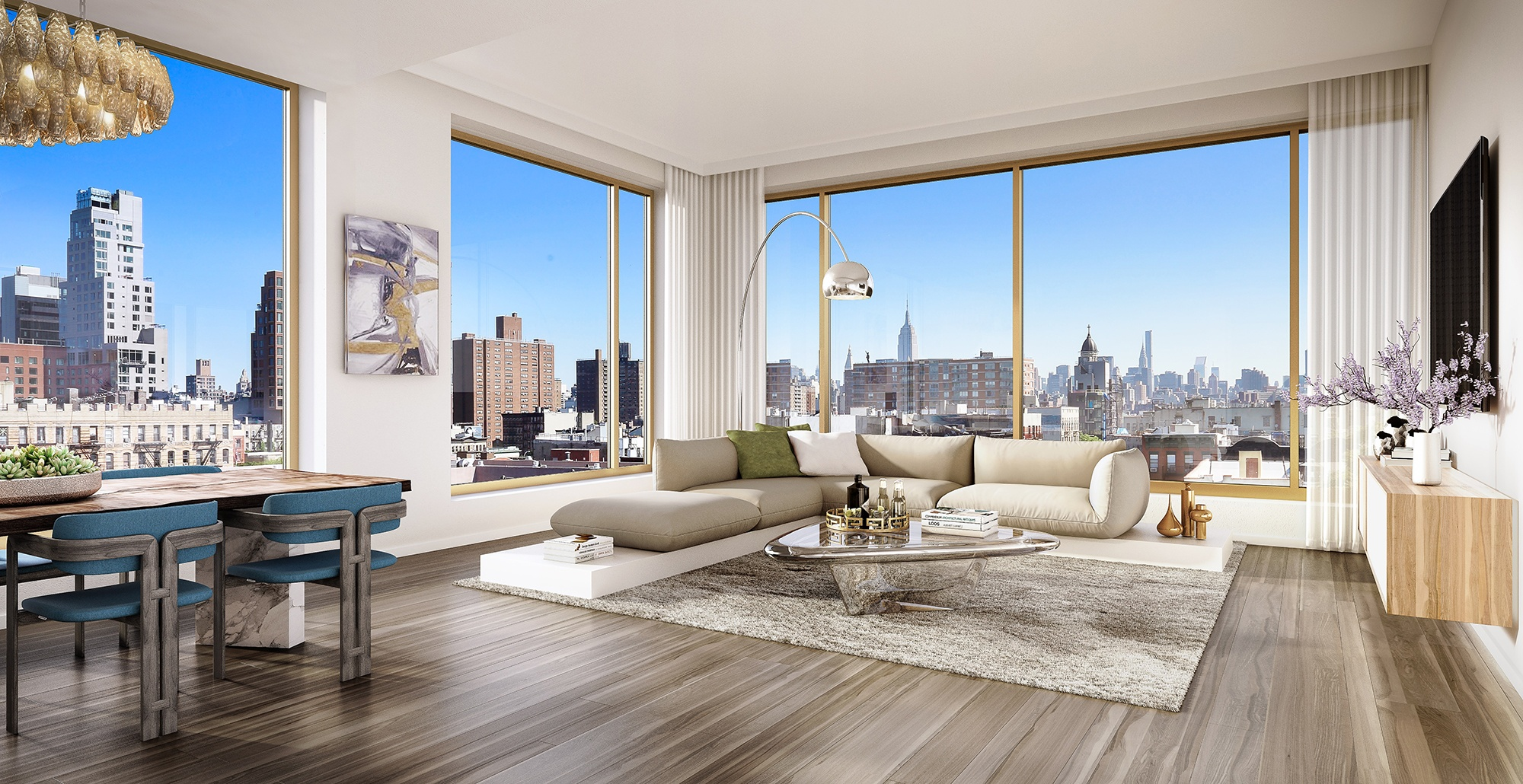 Corner units provide views of the cultural crossroads of SoHo, NoHo, the Lower East Side, Little Italy, and Chinatown.