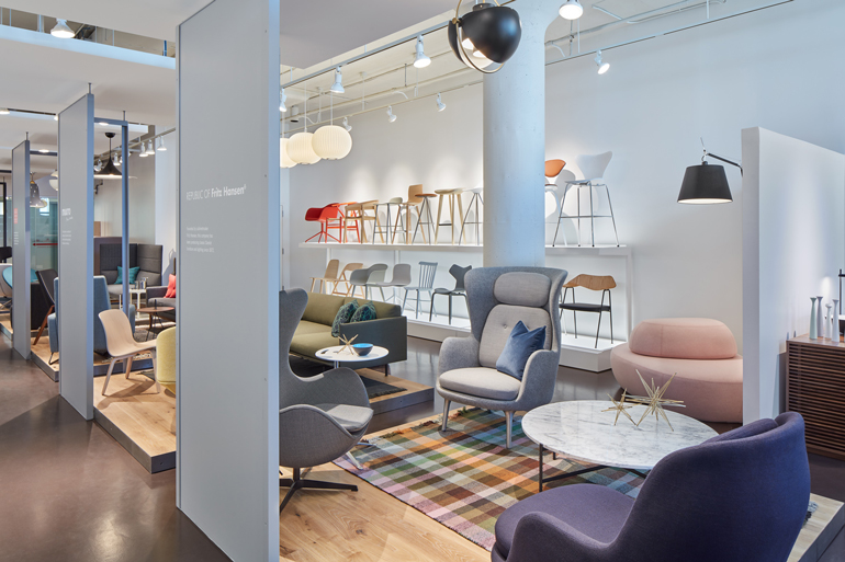 Furniture displayed and arranged in the new DWRC showroom  Photography by  Jared Kuzia. DWR Contract Launches New Showroom at Boston Design Center