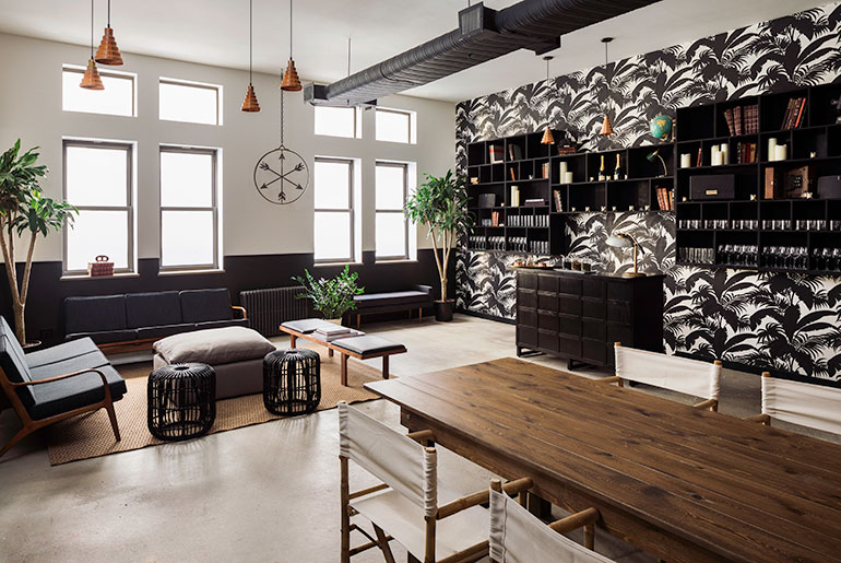 In The Third Story U201cNestu201d, Black And White Wallpaper Is Reinforced By Dark  Shelving And Upholstery. Photography Courtesy Of Read McKendree.