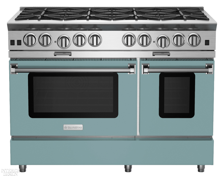 48-inch Platinum series range with 12-inch griddle color-matched to Aegean Teal, the Benjamin Moore & Co. 2021 Color of the Year