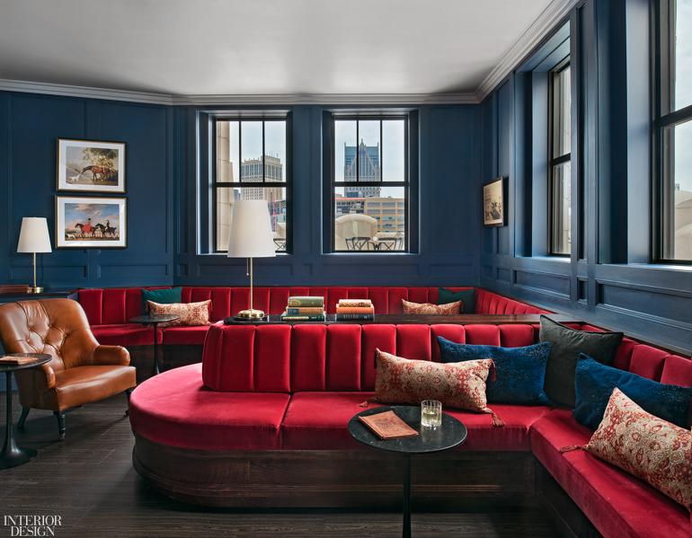 Patrick Thompson Designs The Monarch Club Atop Detroit S Element Hotel Interior Design Magazine