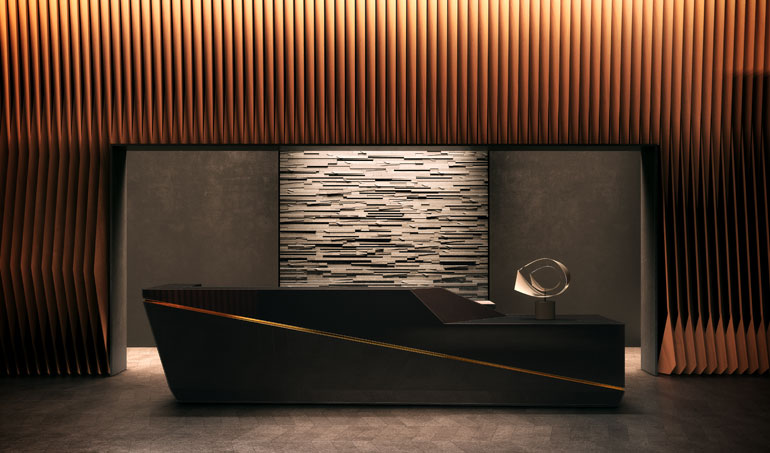 Superb The Lobby Desk In One Of The American Copper Residential Towers In New York  City.