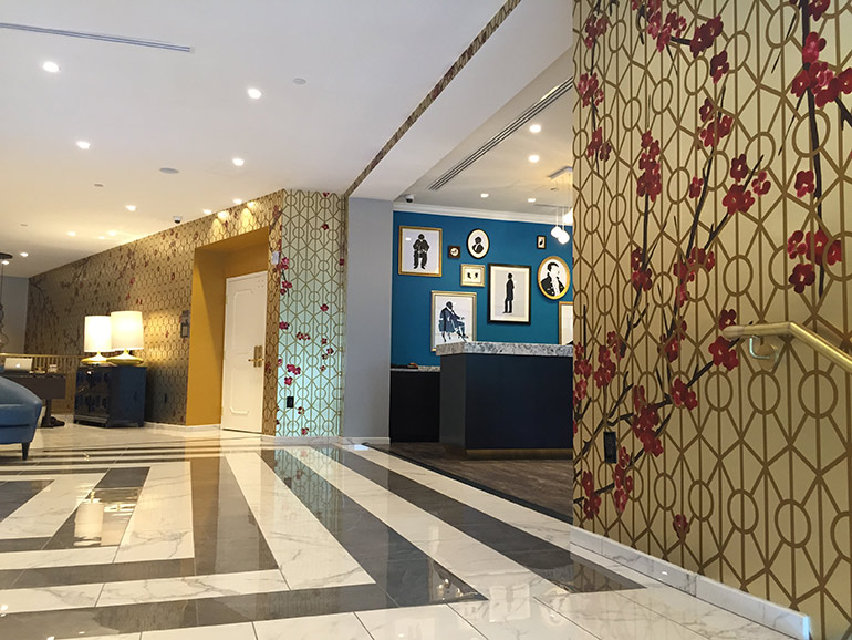 Astek Designer Kayla Burdon Hand Painted The Delta Vancouver Suites Bold Watercolor Murals Designed By CHIL Interior Design Of B H Architects