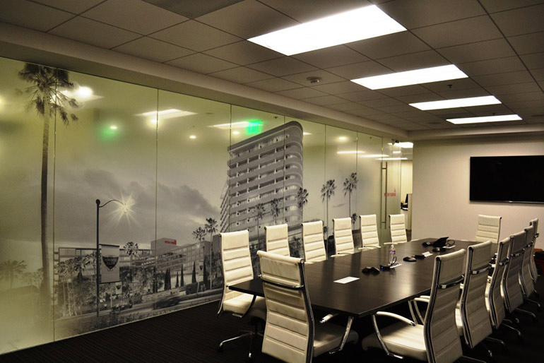 Astek Developed A Custom Graphic Window That Provides Privacy And Visual Interest Inside The New Waldorf Astoria Beverly Hills Leasing Office By Project