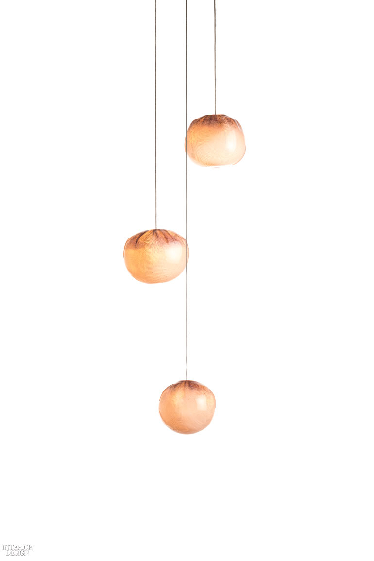 2 omer arbels 84 series pendants in glass and copper mesh by bocci