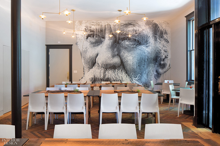 The Coworking Spaceu0027s Mario Bellini Chairs And Nils Westergard Mural In  Spray Paint And Acrylic. Photography By Andrea Hubbell.