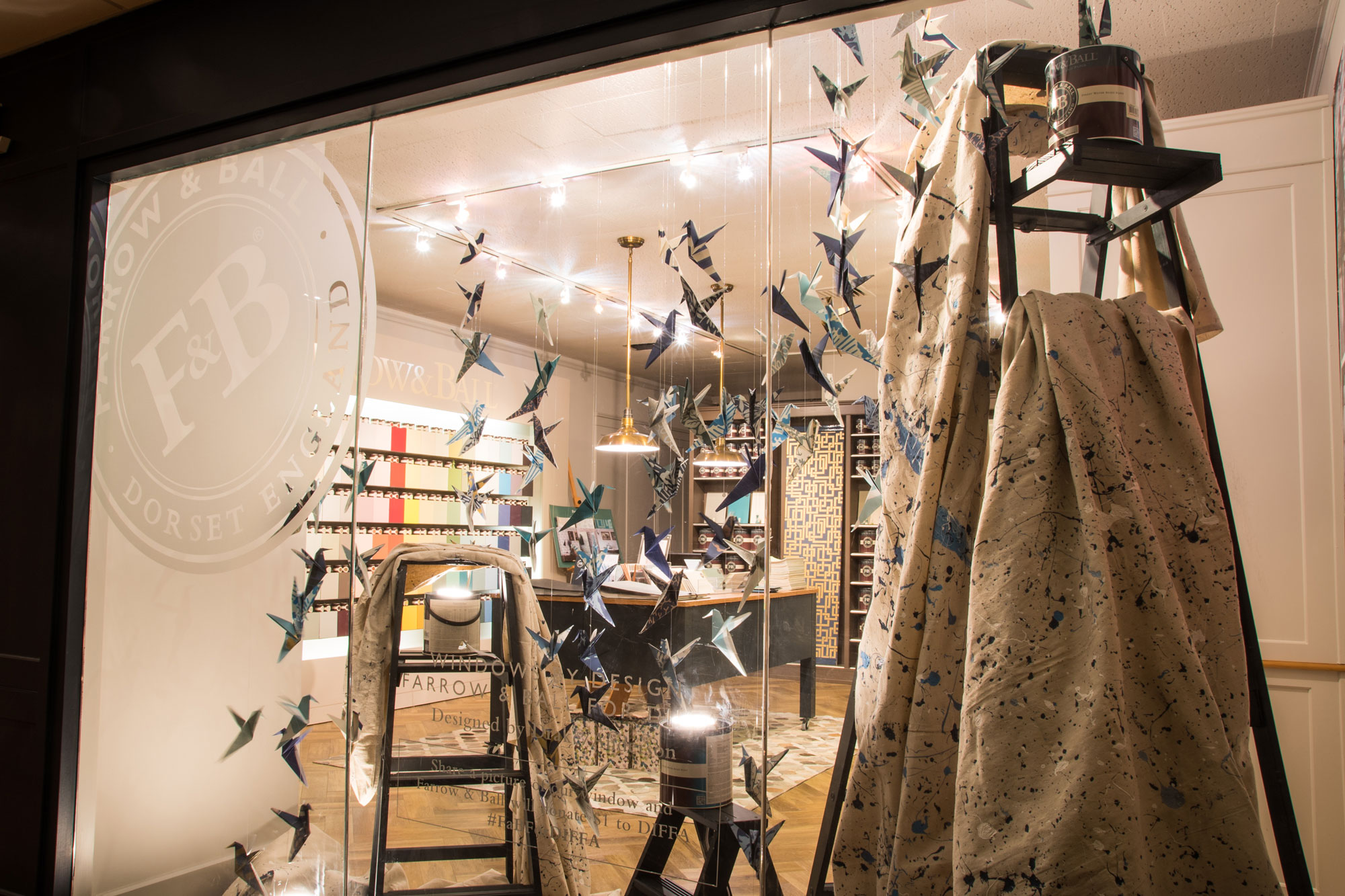 Festive window displays by farrow ball for diffa for Farrow and ball los angeles