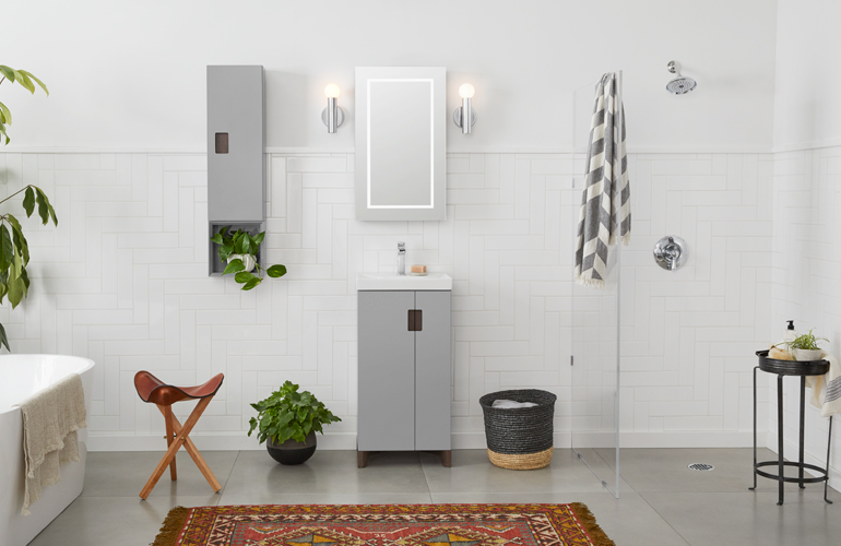 The Aravo Petite Bathroom Vanity Unites Innovative Design With Space Saving  Functionality. With Asymmetrical Doors And A Slim Silhouette That Projects  An ...