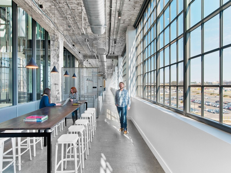Firm TPG Architecture Project MullenLowe 2015 Site Winston Salem North Carolina Standout Existing Concrete Ceiling And Columns In The 1926 Former