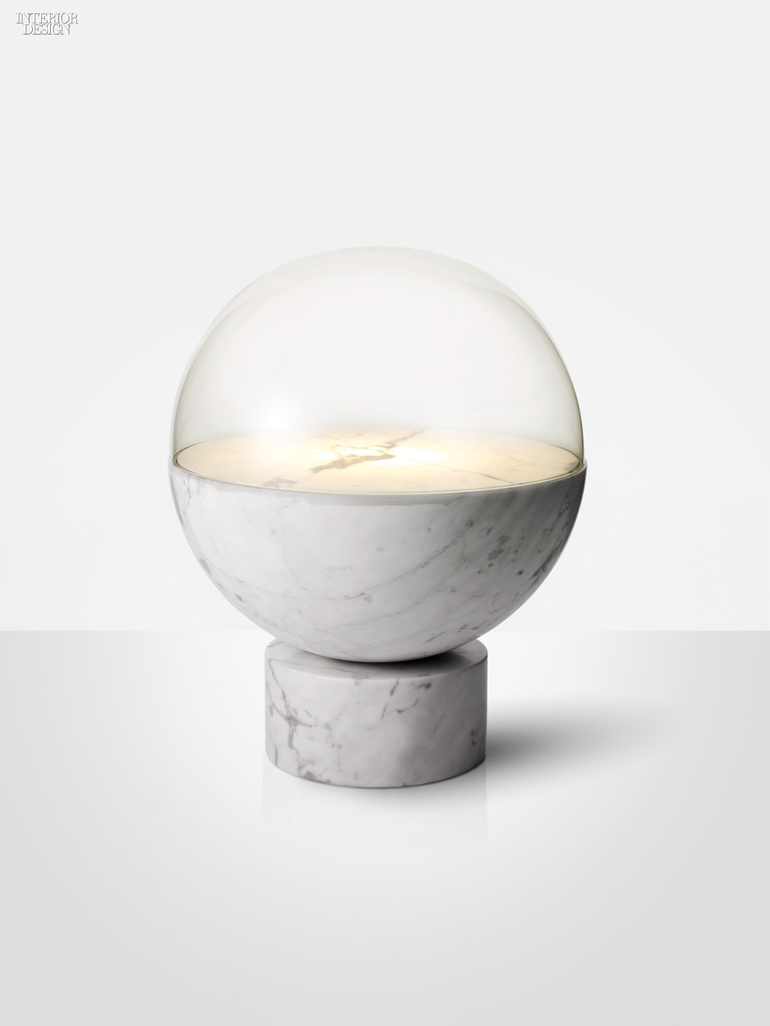 Globe Light Table Lamp In Crystal And Carrara Marble By Lee Broom.