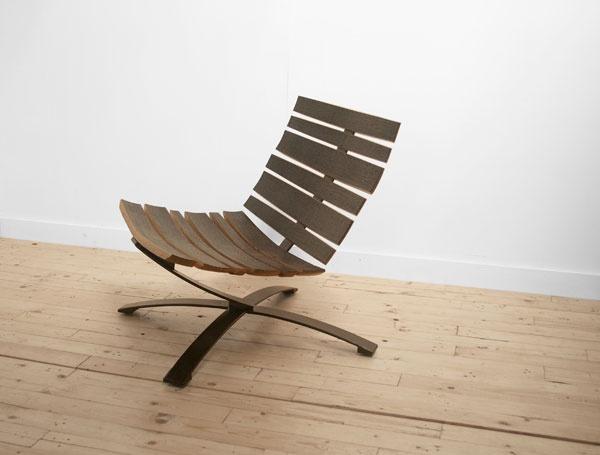 Bilge Lounge Chair in powdercoated blackened steel and reclaimed barrel oak by Uhuru Design. & Alumni Q\u0026A: Jason Horvath and Bill Hilgendorf
