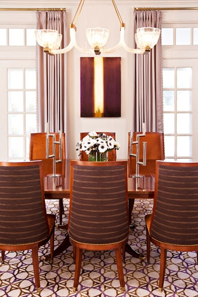 A Long Island Estate Dining Room With Custom Dining Chairs, Barovier U0026 Toso  Chandelier From John Salibello Antiques With Restoration By Audrey Werner  Studio ...