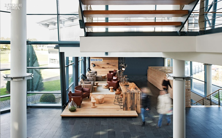 85e821629d2b The lounge runs the length of a wing extending from the reception area s  triple-height atrium. Photography by Joachim Grothus. Birkenstock ...