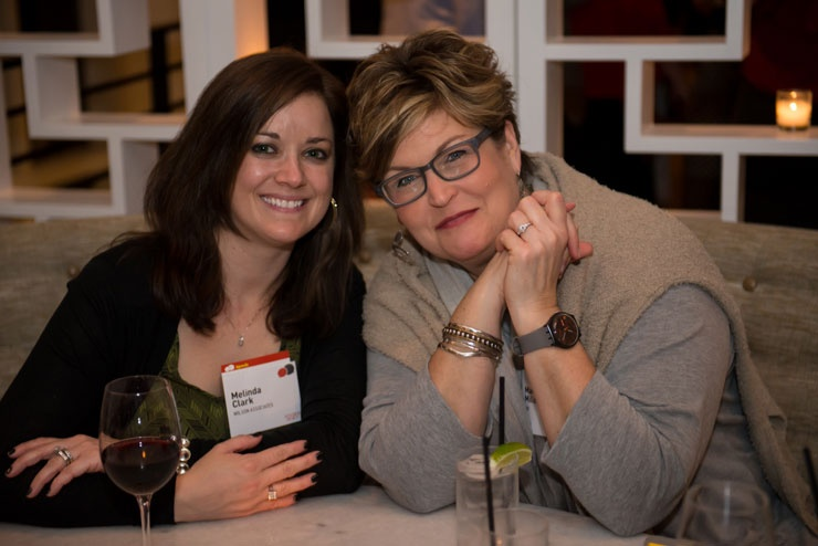 Designer Melinda Clark Wilson Associates And Mary Jo Miller HBF Textiles At The Opening Night Networking Event Photography By Kevin Newsome
