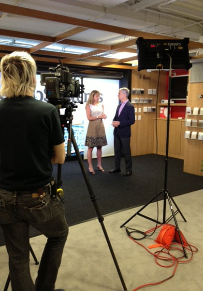 Susan Rieser Of Mechoshades Systems And Interior Designs Mark Strauss During A Video Shoot