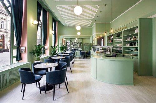 Kissmiklos decorates gardann hungarian café with sugar sweet pastels