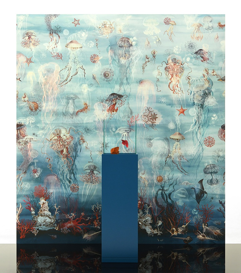 The Abyssal wallpaper by Jean-Paul Gaultier for Lelievre features oceans teeming with life. Photography courtesy of Lelievre.