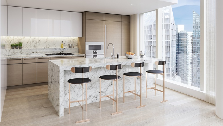 Interior Design Hall Of Famers Yabu Pushelberg Outfitted Two Waterline Squares Kitchens With Hooded Ventilation Systems Gaggenau Appliances