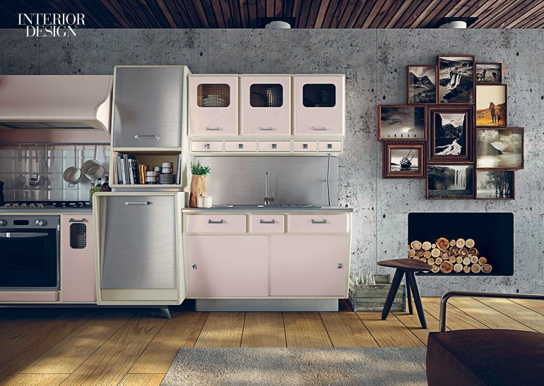 St. Louis Kitchen System In Pink Lacquered Wood By Marchi Group.