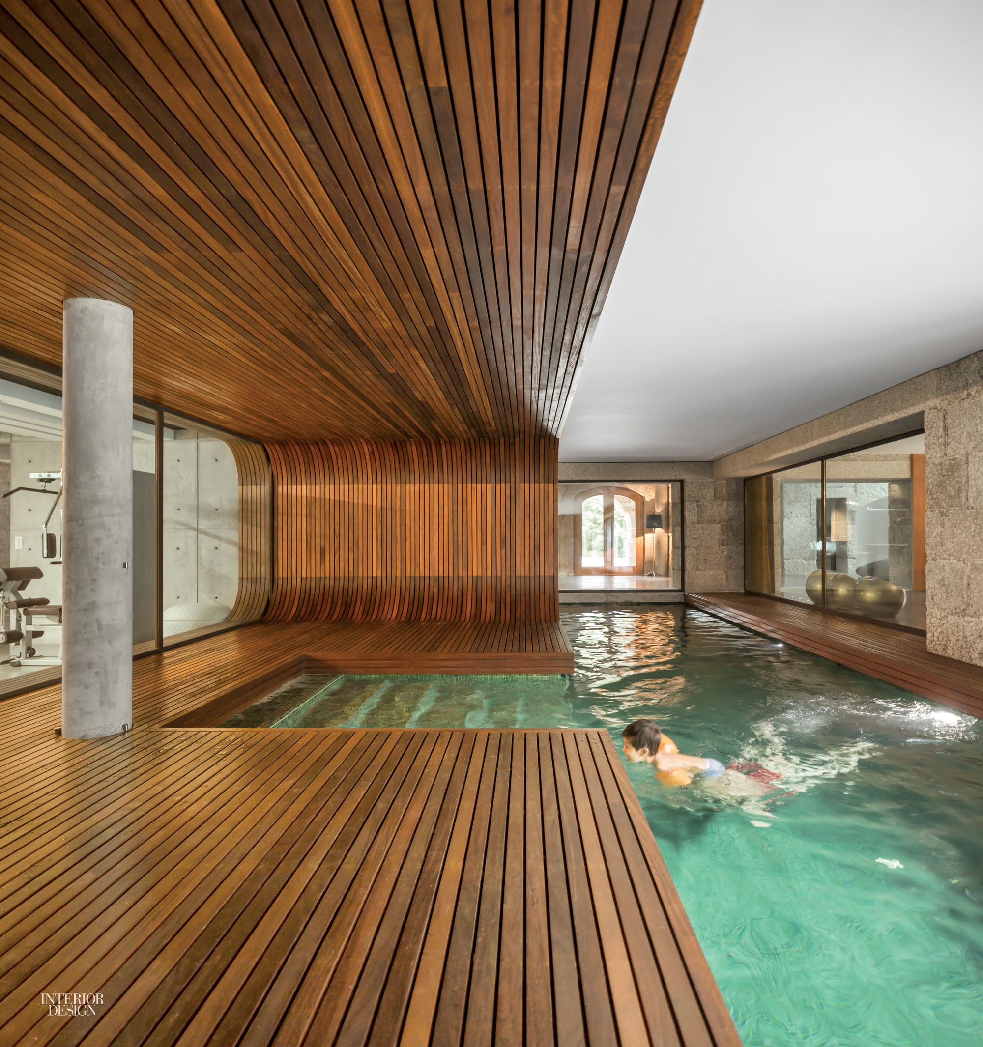 ... Square Feet Under A Renovated 18th Century Farmhouse In Guimarães,  Portugal, To Construct The Separate Pool House, Clad In Iroko Wood And  Mosaic Tile.