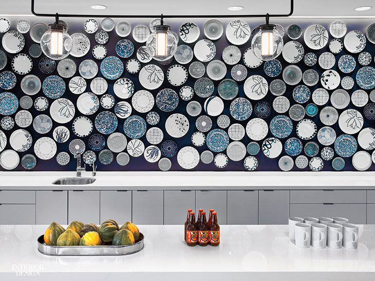 Ceramic Plates And Bowls Are Attached To The Wall Above Quartz Composite Counter Photography By Eric Laignel View Slideshow See More Images Of