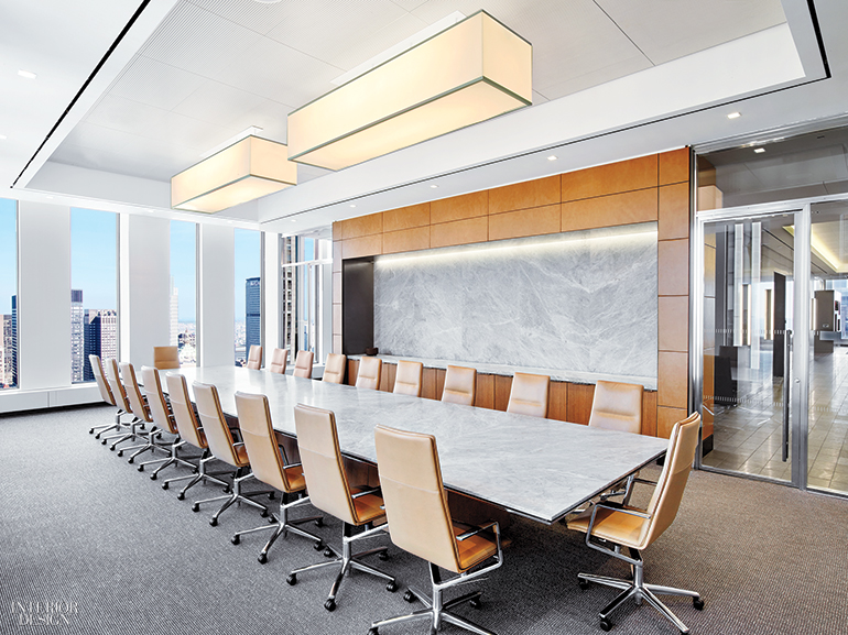 In A Different Conference Room, Marble Tops The Custom Table And Also  Surfaces A Wall. Photography By Eric Laignel.