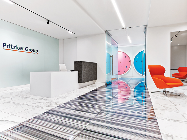 Bright Colors And Contemporary Artwork Punctuate Pritzker Group 39 S Los Angeles Headquarters By Hok