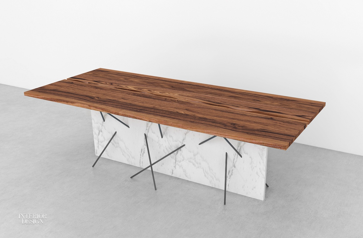8 sleek new tables with angular bases for Sleek dining table designs