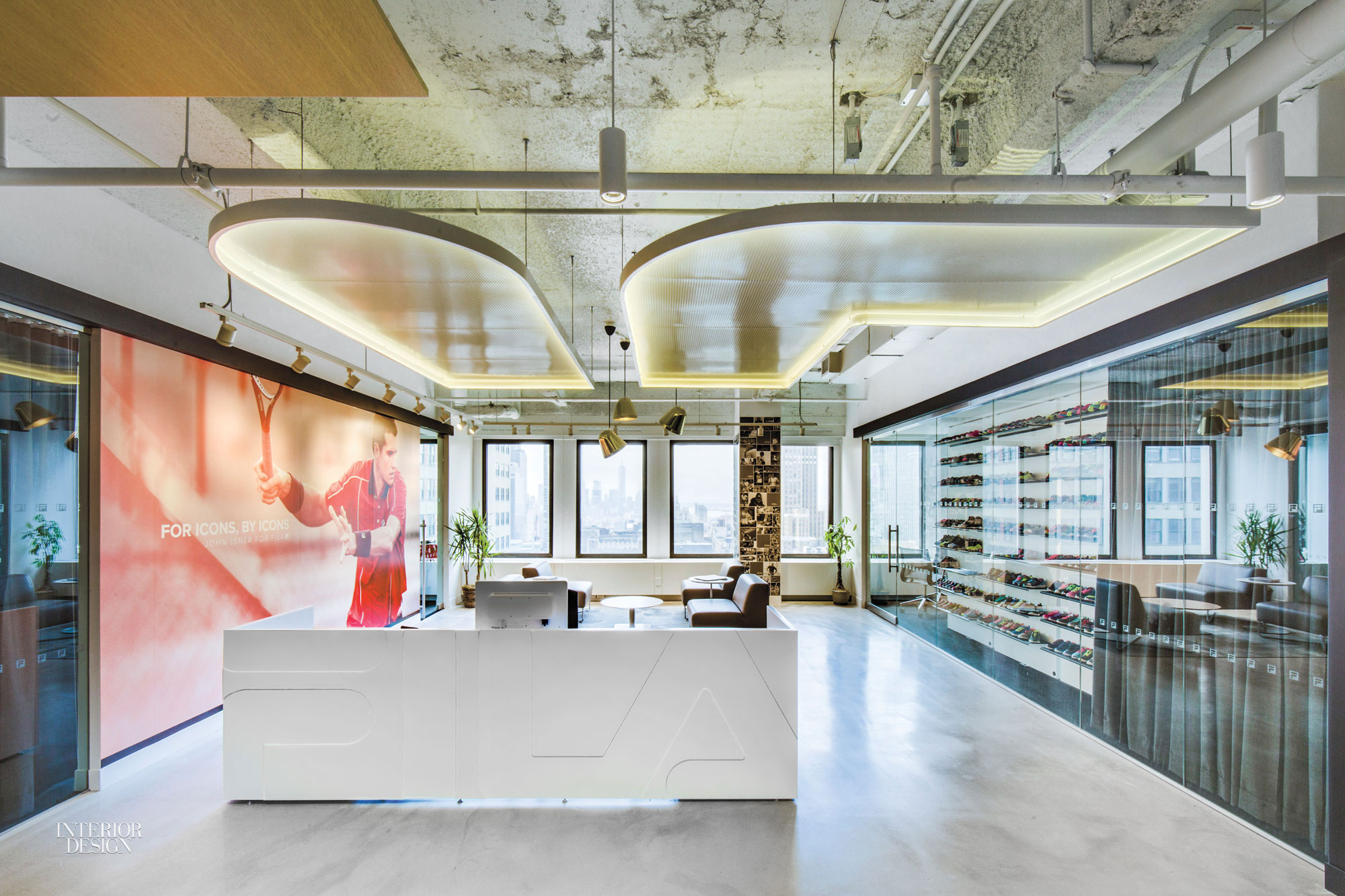 Filas Logo Over The Reception Desk Of Companys Mapos Designed New York Office Photography By Oleg March