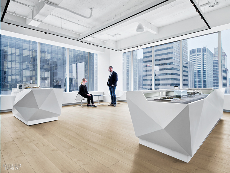 can an all glass fice building really be considered interior designer fees new york In the gallery, Niels Bendtsen chairs flank an Antonio Citterio table.  Photography by Eric Laignel.