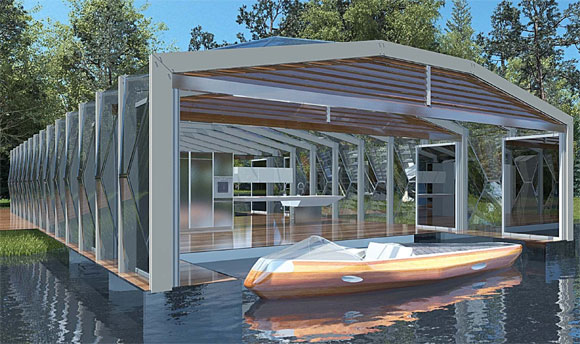 Rhed built by poliform boat house pavilion and co for Boat house plans pictures