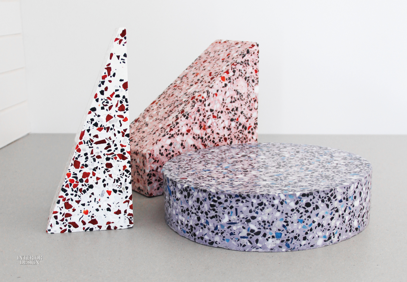 Confetti Coffee Table With Valchromat Colored MDF Base And Terrazzo Top By  Studio Fish And Pink.