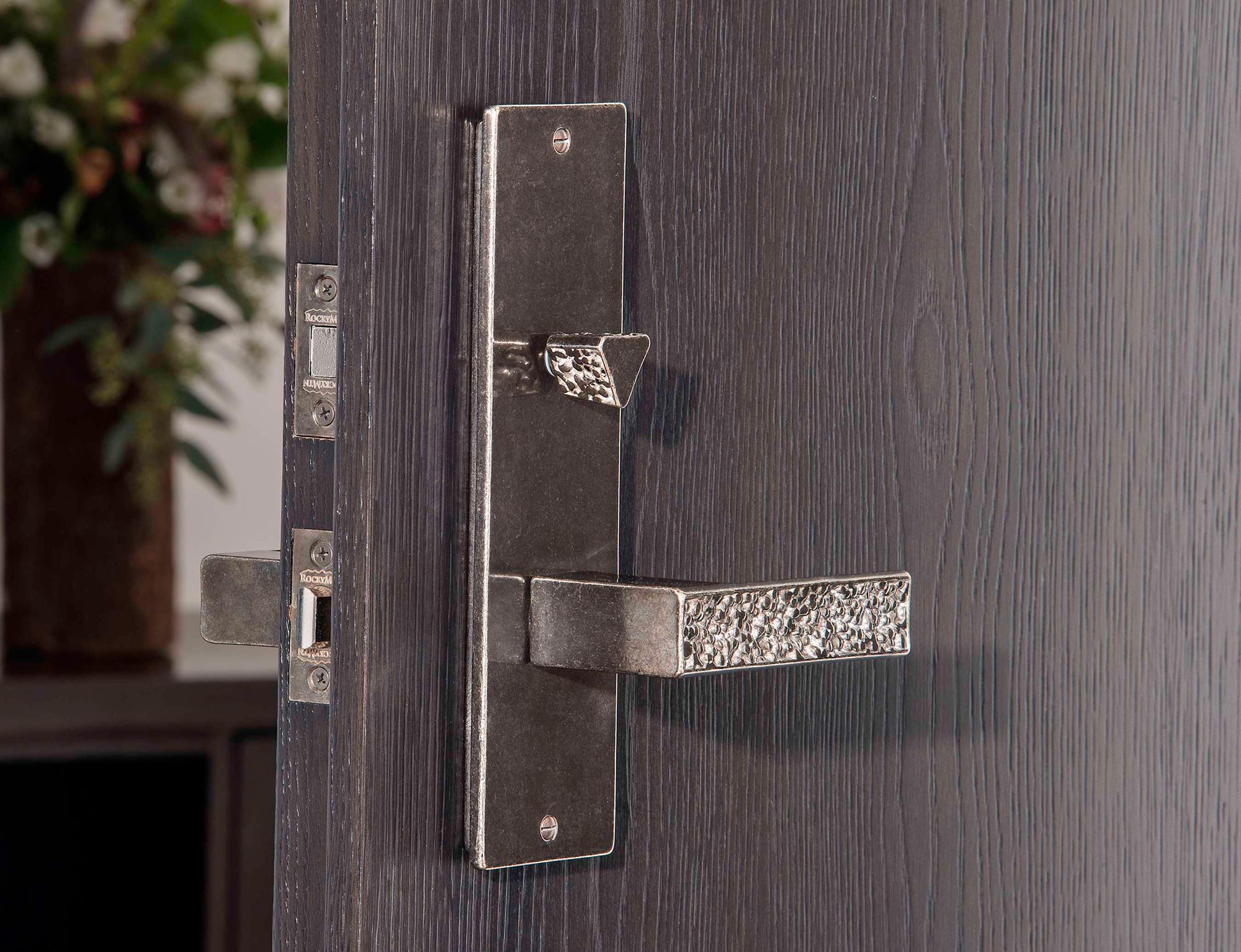 Trousdale Collection Privacy Hardware Shown In White Bronze, Medium Patina.