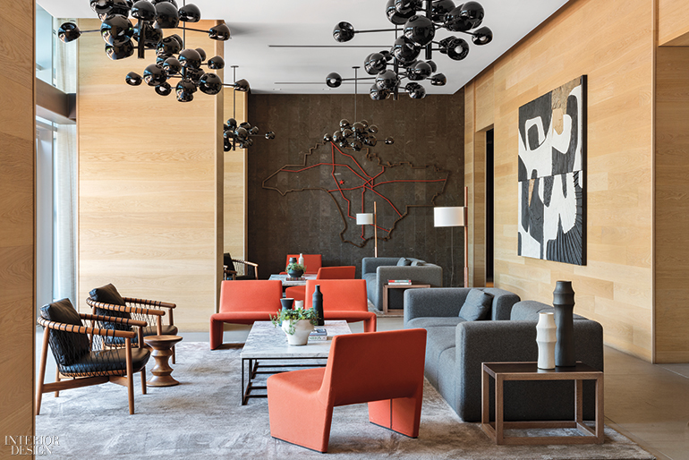 Exceptionnel In The Lounge, David Weeks Studio Chandeliers Hang Above Armchairs By Eoos  And Armless Chairs By Lievore Altherr Molina. The L.A. Map Mural In Bronze  And ...